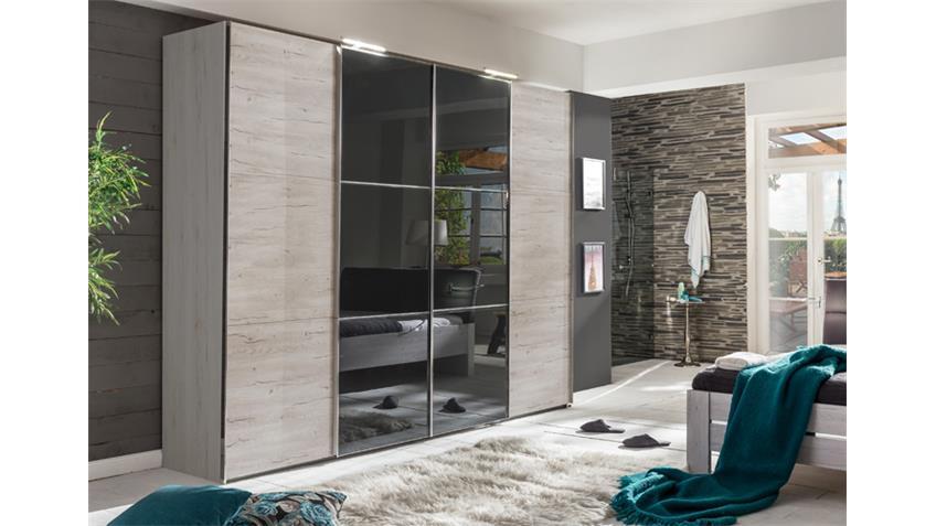 Schwebetürenschrank Escape Weißeiche Glasfront grau 300 cm