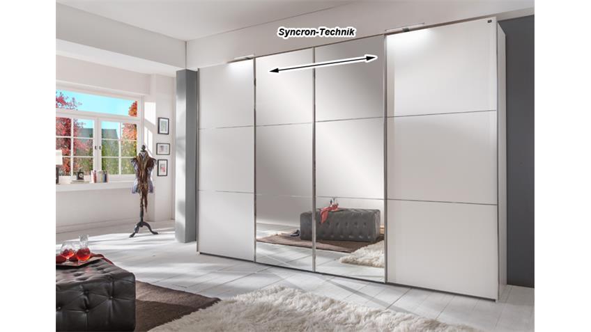 Schwebetürenschrank Escape Alpinweiß Glasfront schwarz 300 cm