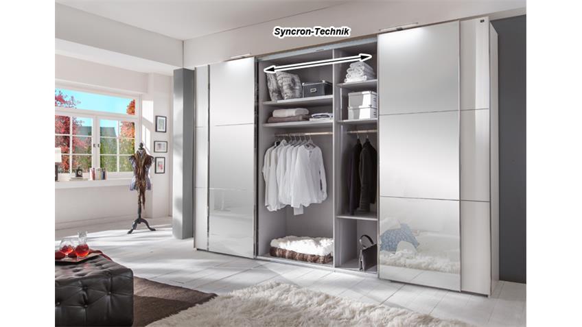 Schwebetürenschrank Escape Alpinweiß Glasfront grau 300 cm