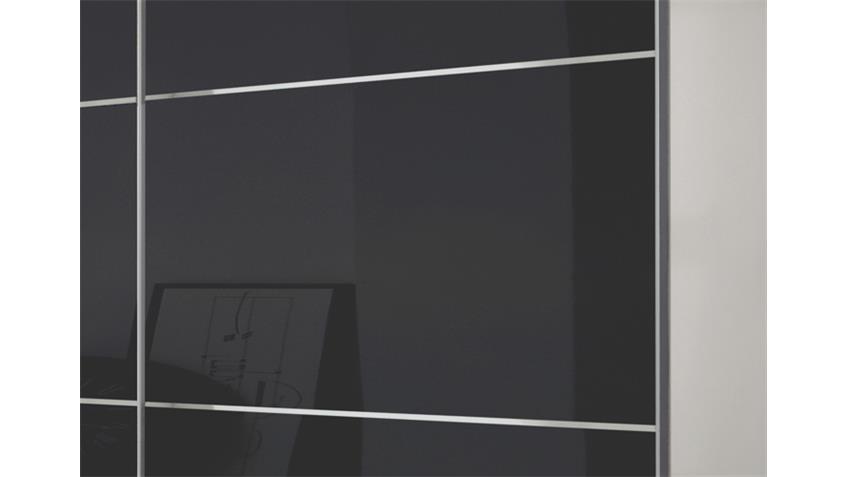 Schwebetürenschrank Escape Alpinweiß Glasfront grau 250 cm