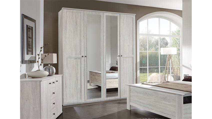 Kleiderschrank Chalet Weißeiche mit Spiegel 180 cm