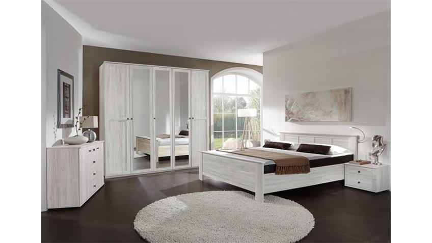 Schlafzimmer Kombi 4 Chalet in Weißeiche mit Spiegel