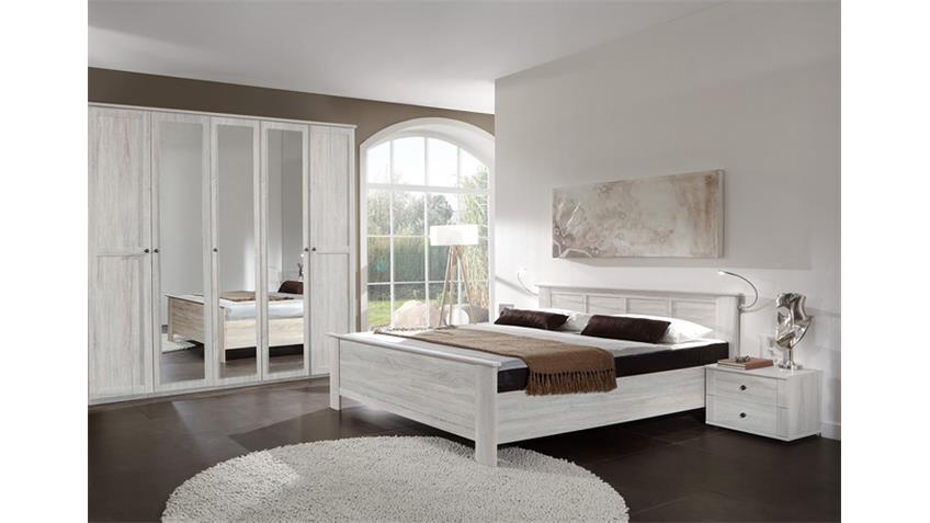 Schlafzimmer Kombi 6 Chalet in Weißeiche mit Spiegel