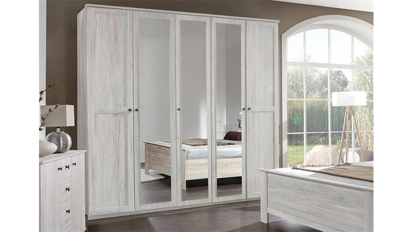 Schlafzimmer Kombi 5 Chalet in Weißeiche mit Spiegel
