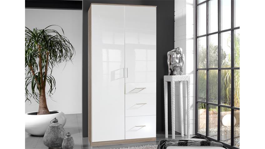 Kleiderschrank Clack in hochglanz weiß Eiche sägerau 90 cm