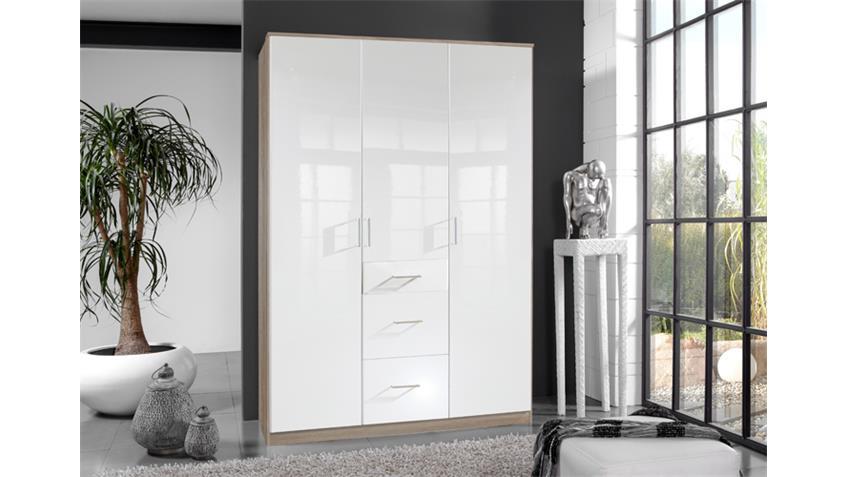 Kleiderschrank Clack in hochglanz weiß Eiche sägerau 135 cm