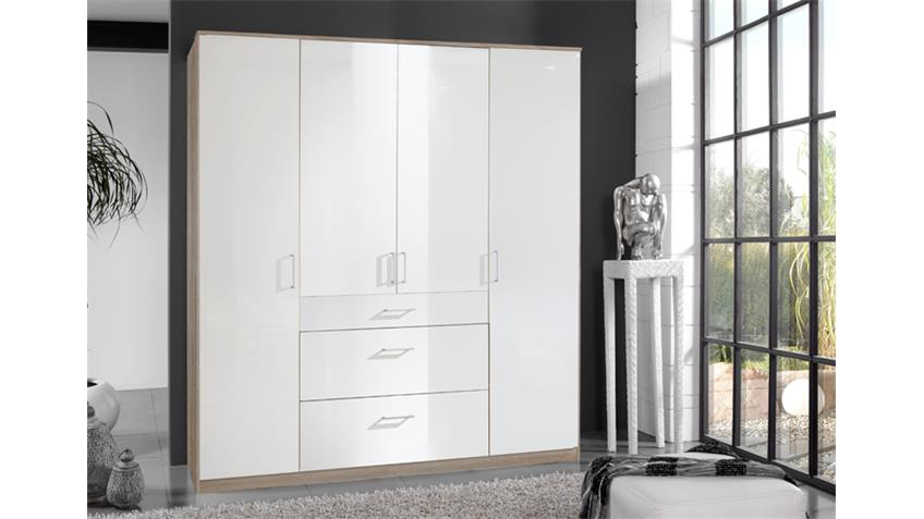 Kleiderschrank Clack in hochglanz weiß Eiche sägerau 180 cm