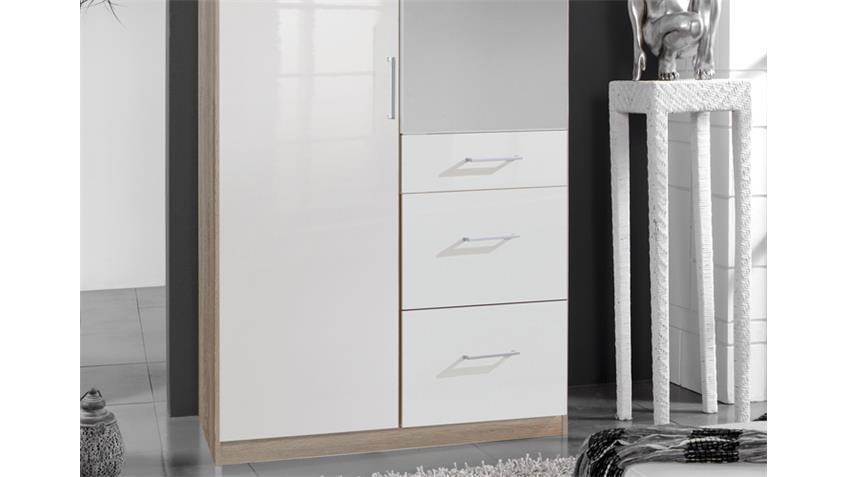 Kleiderschrank Clack hochglanz weiß Eiche mit Spiegel 90 cm