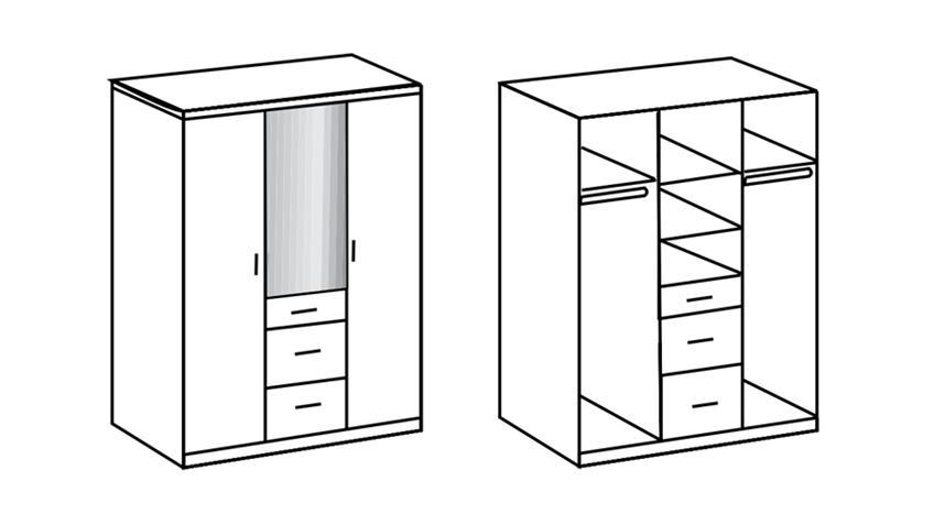 Kleiderschrank Clack hochglanz weiß Eiche mit Spiegel 135 cm