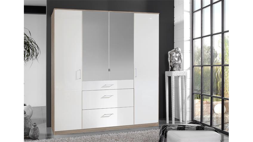 Kleiderschrank Clack hochglanz weiß Eiche mit Spiegel 180 cm