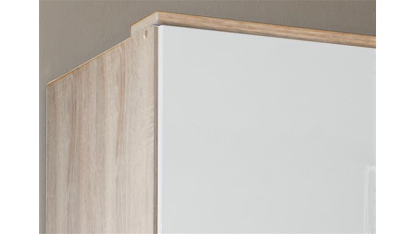 Schrankaufsatz Clack in hochglanz weiß Eiche sägerau 90 cm