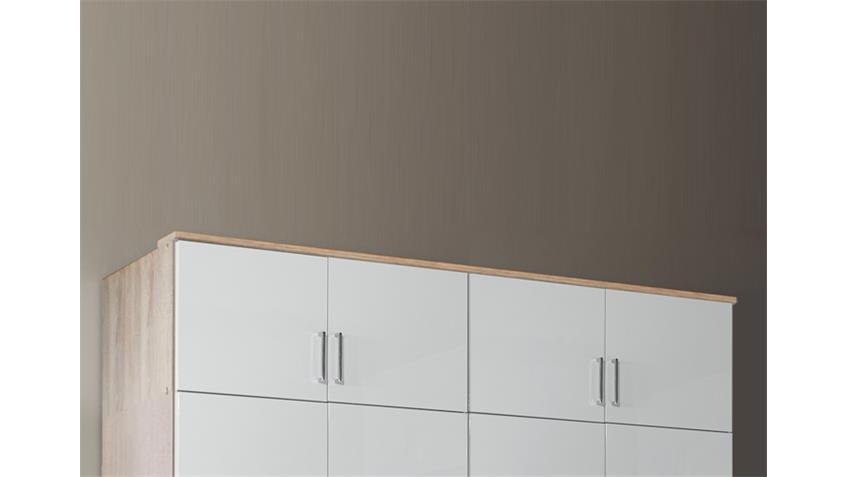 Schrankaufsatz Clack in hochglanz weiß Eiche sägerau 180 cm