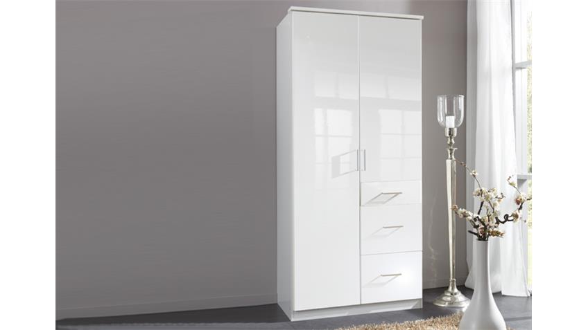 Kleiderschrank Clack in hochglanz weiß Alpinweiß 90 cm