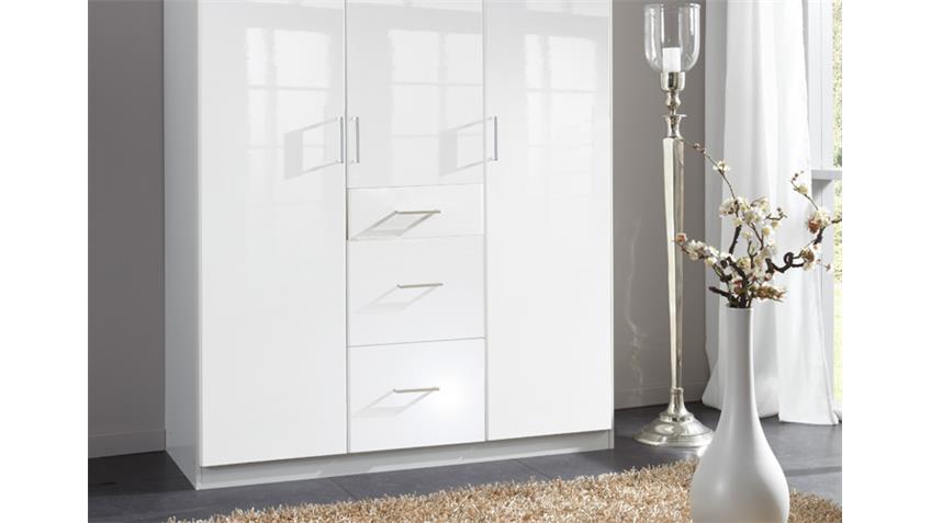 Kleiderschrank Clack in hochglanz weiß Alpinweiß 135 cm