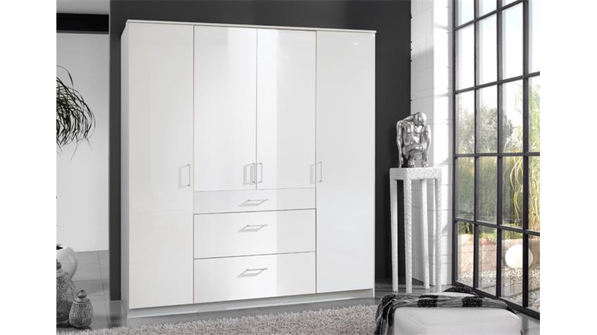 Kleiderschrank Clack in hochglanz weiß Alpinweiß 180 cm