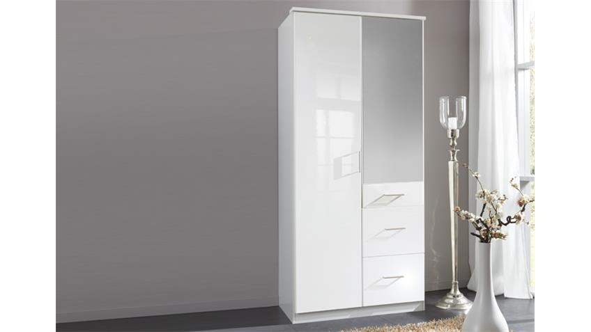 Kleiderschrank Clack hochglanz weiß Alpinweiß Spiegel 90 cm