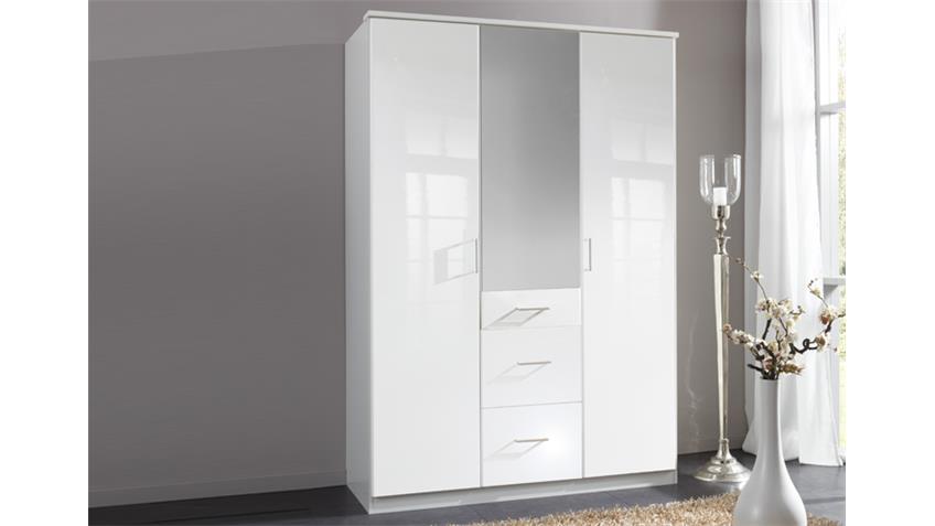 Kleiderschrank Clack hochglanz weiß Alpinweiß Spiegel 135 cm
