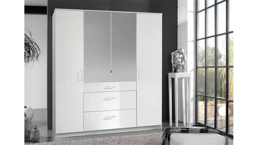 Kleiderschrank Clack hochglanz weiß Alpinweiß Spiegel 180 cm