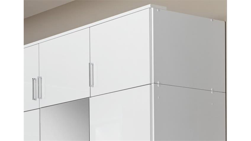 Schrankaufsatz Clack in hochglanz weiß Alpinweiß 135 cm