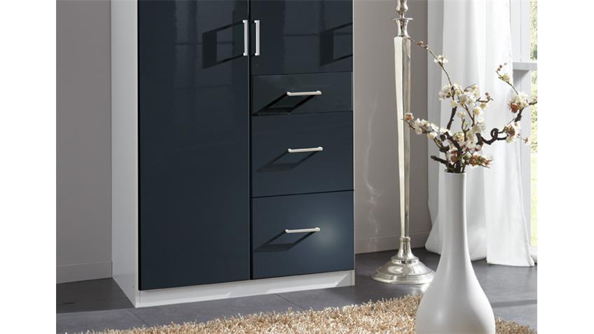 Kleiderschrank Clack in hochglanz schwarz Alpinweiß 90 cm
