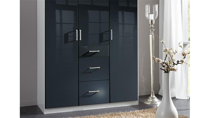 Kleiderschrank Clack in hochglanz schwarz Alpinweiß 135 cm
