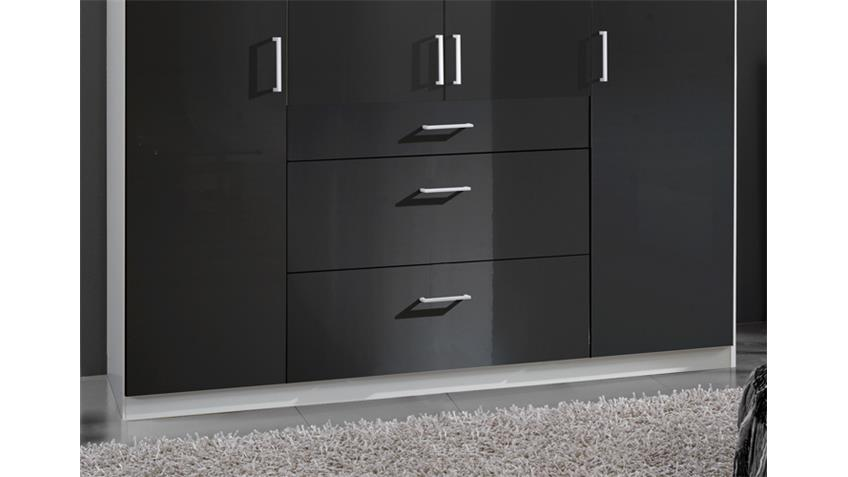 kleiderschrank clack in hochglanz schwarz alpinwei 180 cm. Black Bedroom Furniture Sets. Home Design Ideas