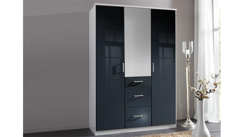 Kleiderschrank Clack Front  hochglanz schwarz Spiegel 135 cm