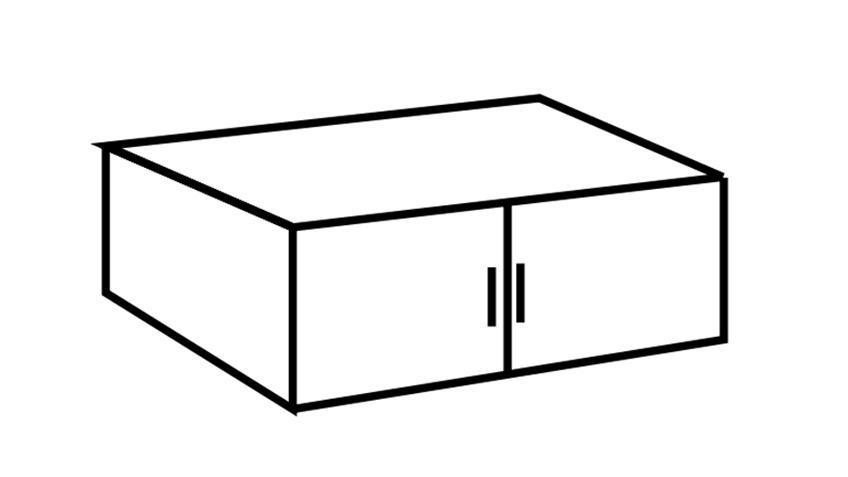 Schrankaufsatz Clack in hochglanz schwarz Alpinweiß 90 cm