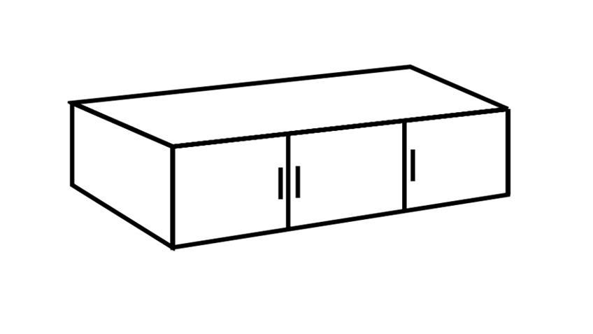 Schrankaufsatz Clack in Alpinweiß schwarz 135 cm