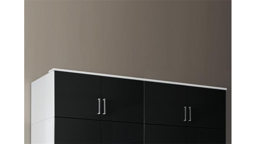 Schrankaufsatz Clack in hochglanz schwarz Alpinweiß 180 cm