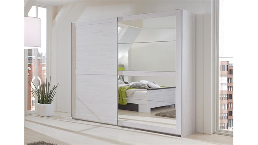 Schwebetürenschrank Chateau 2-türig in Weißeiche mit Spiegeln