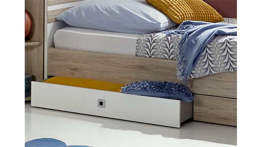 Bett Joker in San Remo-Eiche Alpinweiß mit Schubkästen