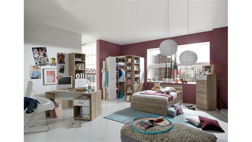 jugendzimmer set joker bett 90x200 san remo eiche und alpinwei. Black Bedroom Furniture Sets. Home Design Ideas
