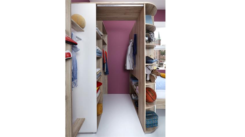 Jugendzimmer Set Joker Bett 140x200 San Remo-Eiche Alpinweiß