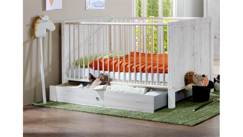 Babybett Filou Kinderbett mit Bettkasten in Weißeiche 70x140cm