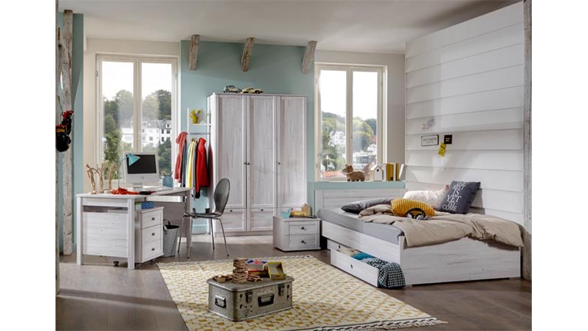 Bett Filou Kinderbett mit Schubkasten in Weißeiche 90x200cm