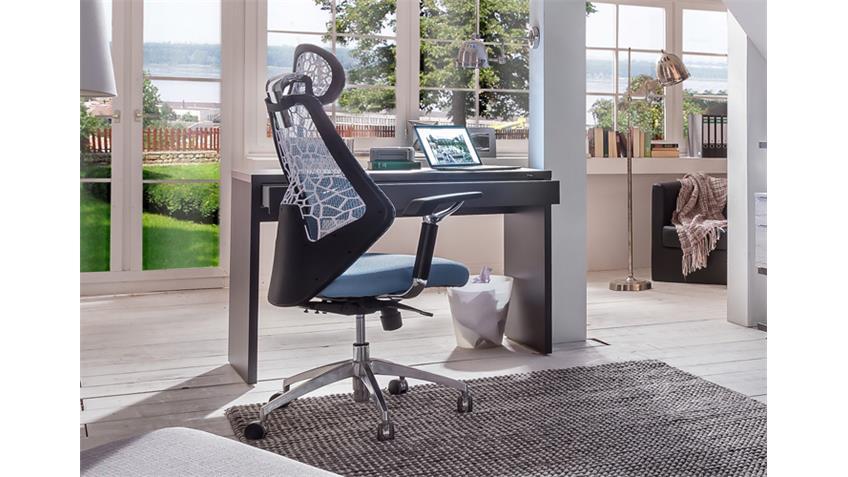 Büro Level Up lavafarbig Weiseiche mit Schreibtisch