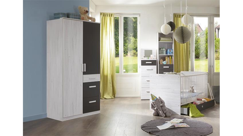 kleiderschrank cariba 2 t rig wei eiche lavafarbig. Black Bedroom Furniture Sets. Home Design Ideas