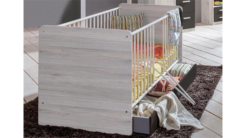 Babyzimmer 3 Cariba 8 tlg. Weißeiche Abs. Lavafarbig