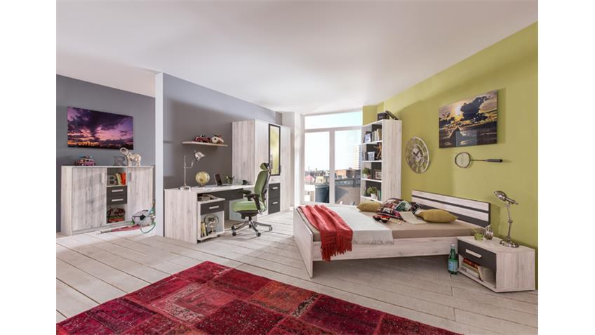 Jugendzimmer 3 Cariba 8 tlg. Weißeiche Abs. Lavafarbig