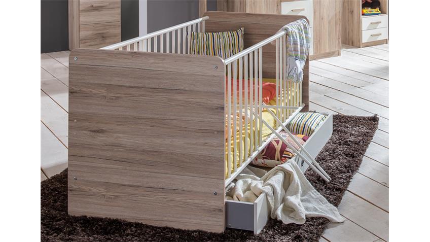Babyzimmer 1 Cariba 9 tlg. San Remo-Eiche Kleiderschrank 3-türig