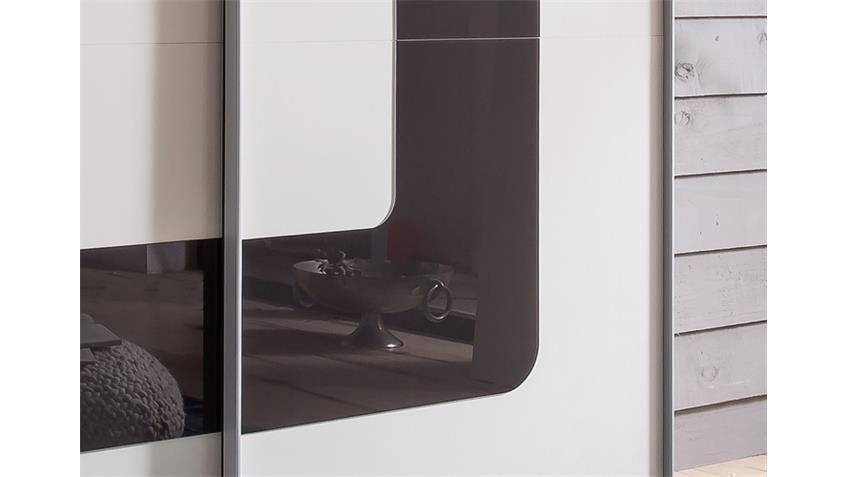 Kleiderschrank Curve 2-türig Alpinweiß Glas Grey 180 cm