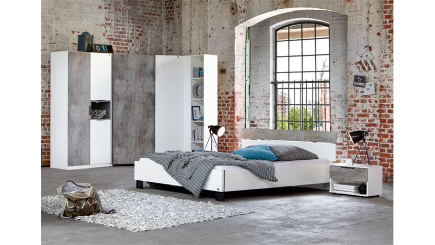 Schlafzimmer 2 Cargo Alpinweiß Betonfarbig 7-tlg.