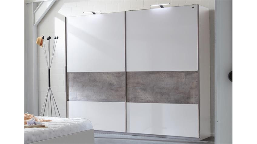 Schlafzimmer 6 Cargo Alpinweiß Betonfarbig 4-tlg.