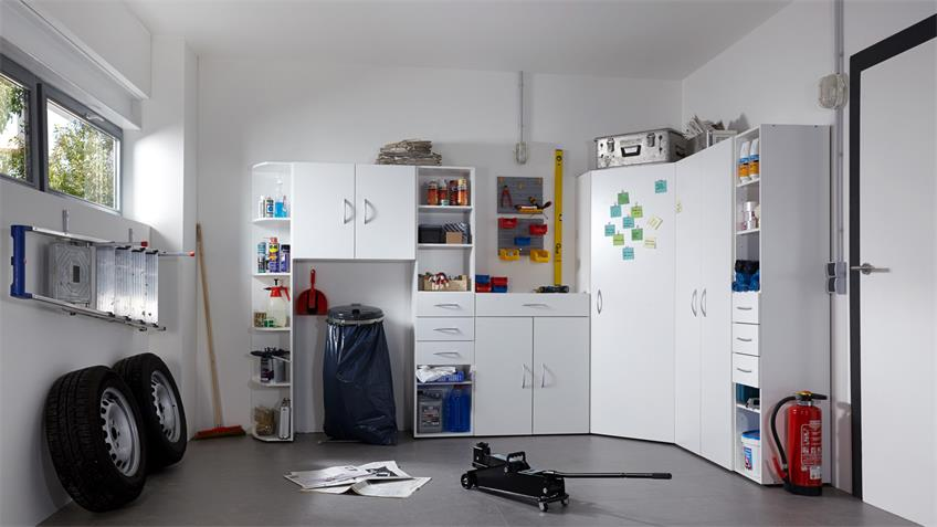 Garagenschrank Multi Room Regalsystem in Alpinweiß
