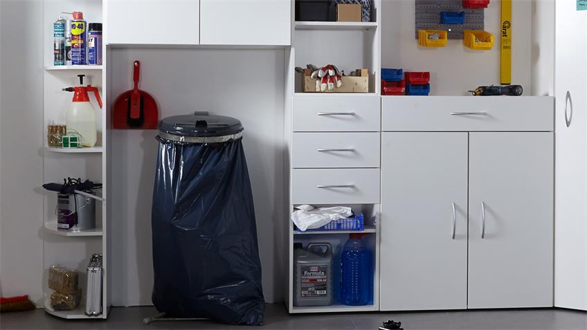 Garagenschrank Multi Room Regalsystem in Alpinweiß