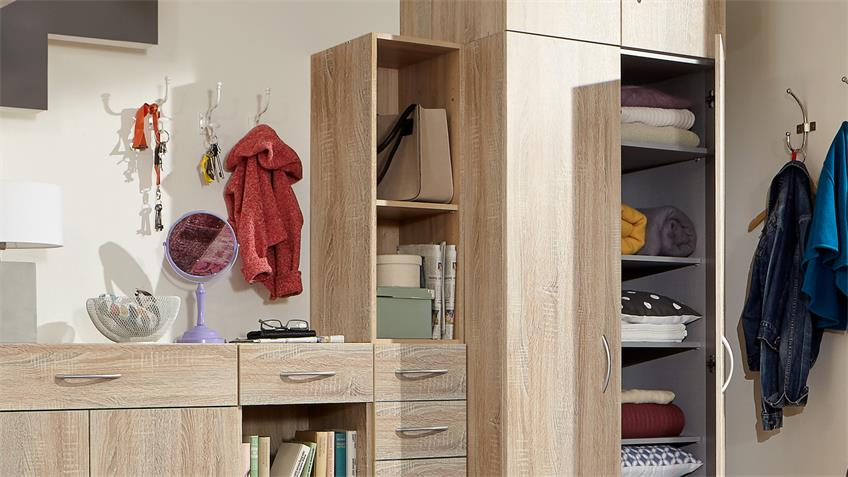 Flurschrank Multi Room Regalsystem in Eiche sägerau