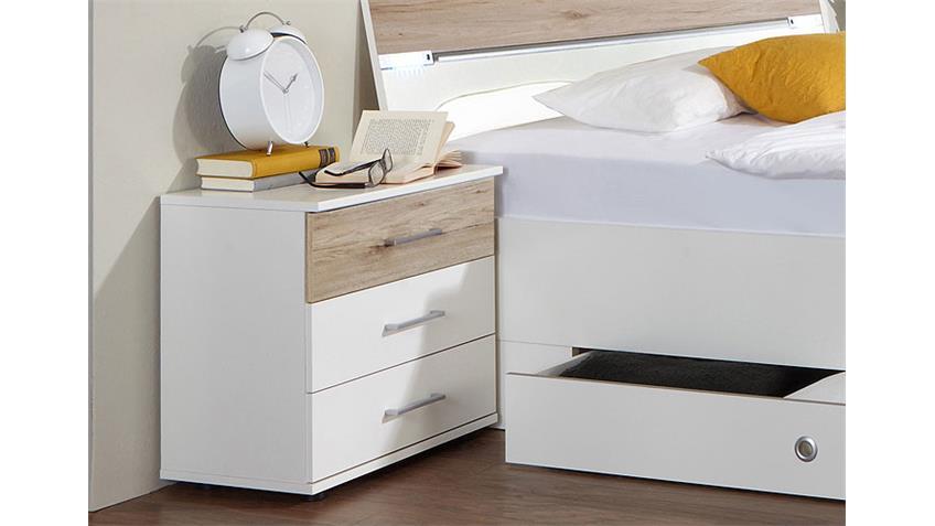 Bettanlage Cheep mit Bett LED und Nachtkommoden