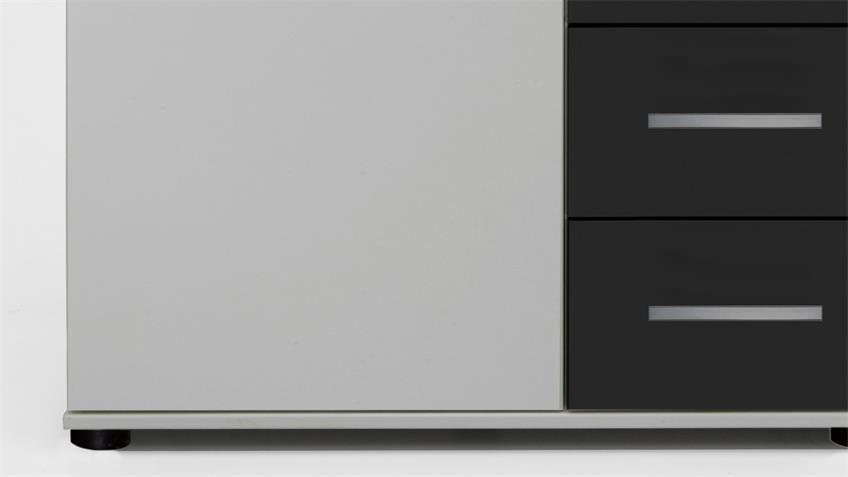 Kommode Cheep in weiß und schwarz 1 Tür 4 Schubkästen