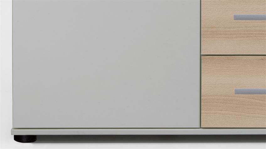 Kommode Cheep in weiß und Edelbuche 1 Tür 4 Schubkästen